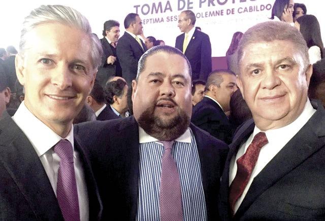 Alfredo Del Mazo, primo de Peña y Nieto con José Manzur, secretario de gobierno
