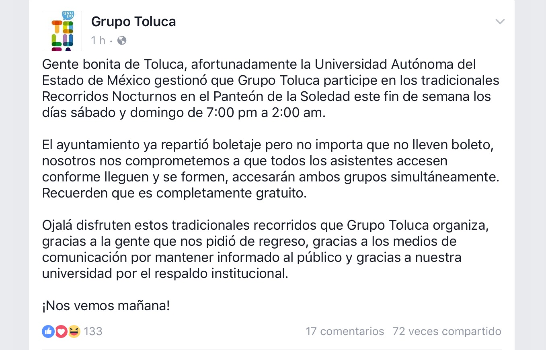 Regresa Grupo Toluca a panteón La Soledad