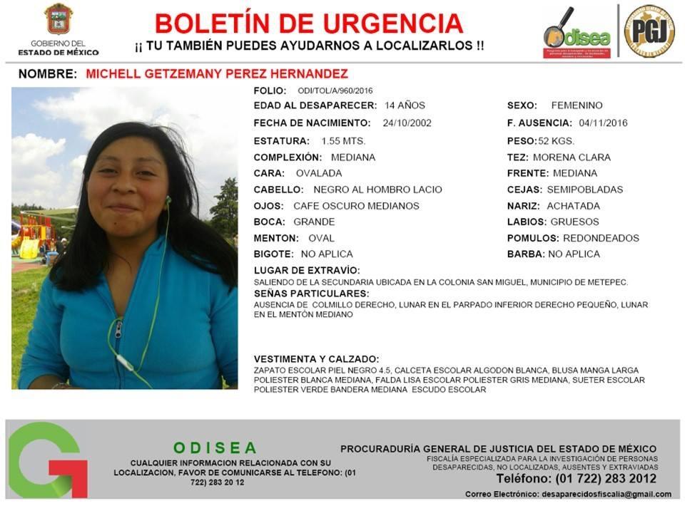 Desaparece otra adolescente en Metepec