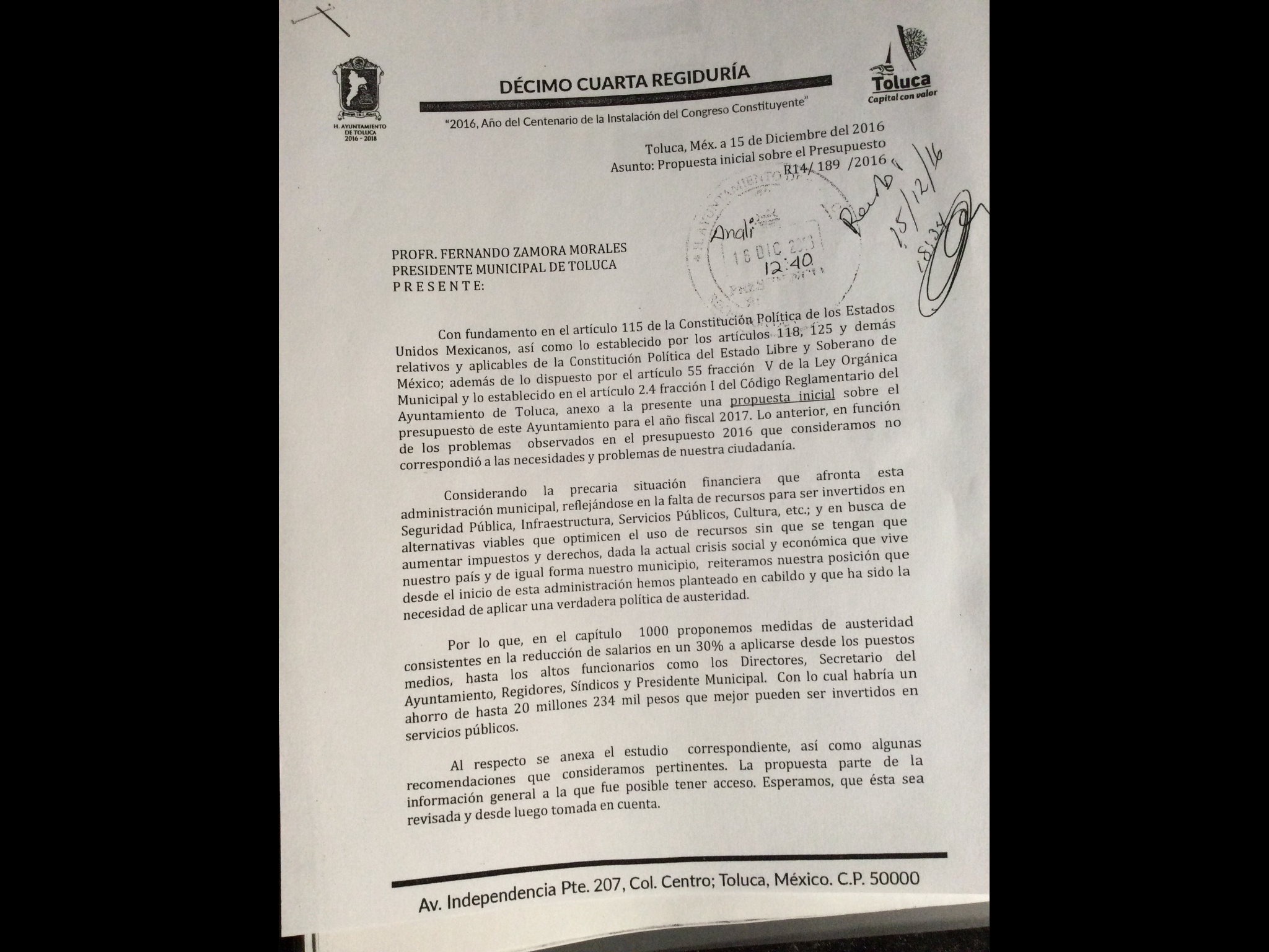 """Pide MORENA """"apretón de cinturón"""" para alta burocracia de Toluca"""