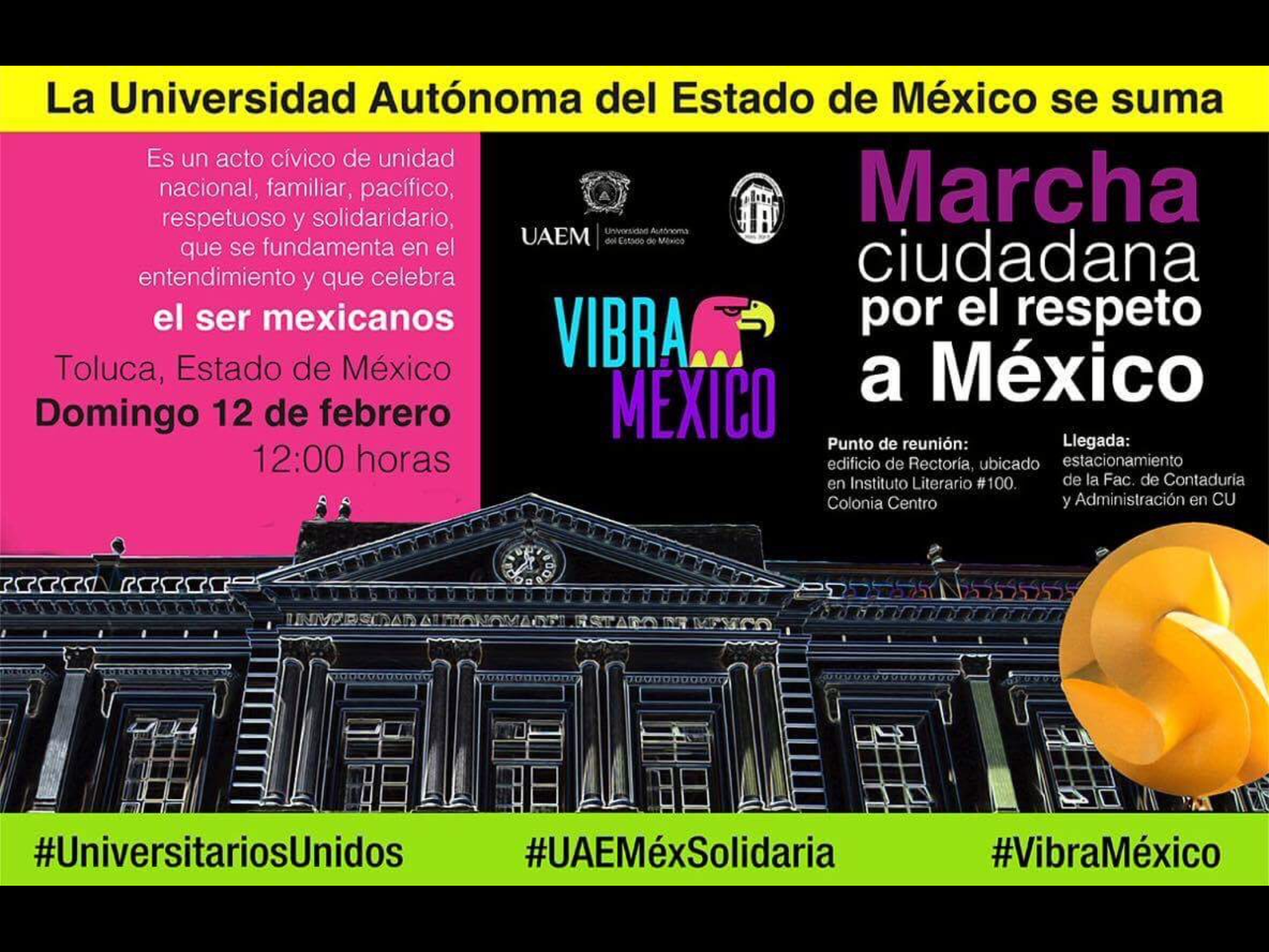 """UAEM marchará en """"Vibra México"""""""