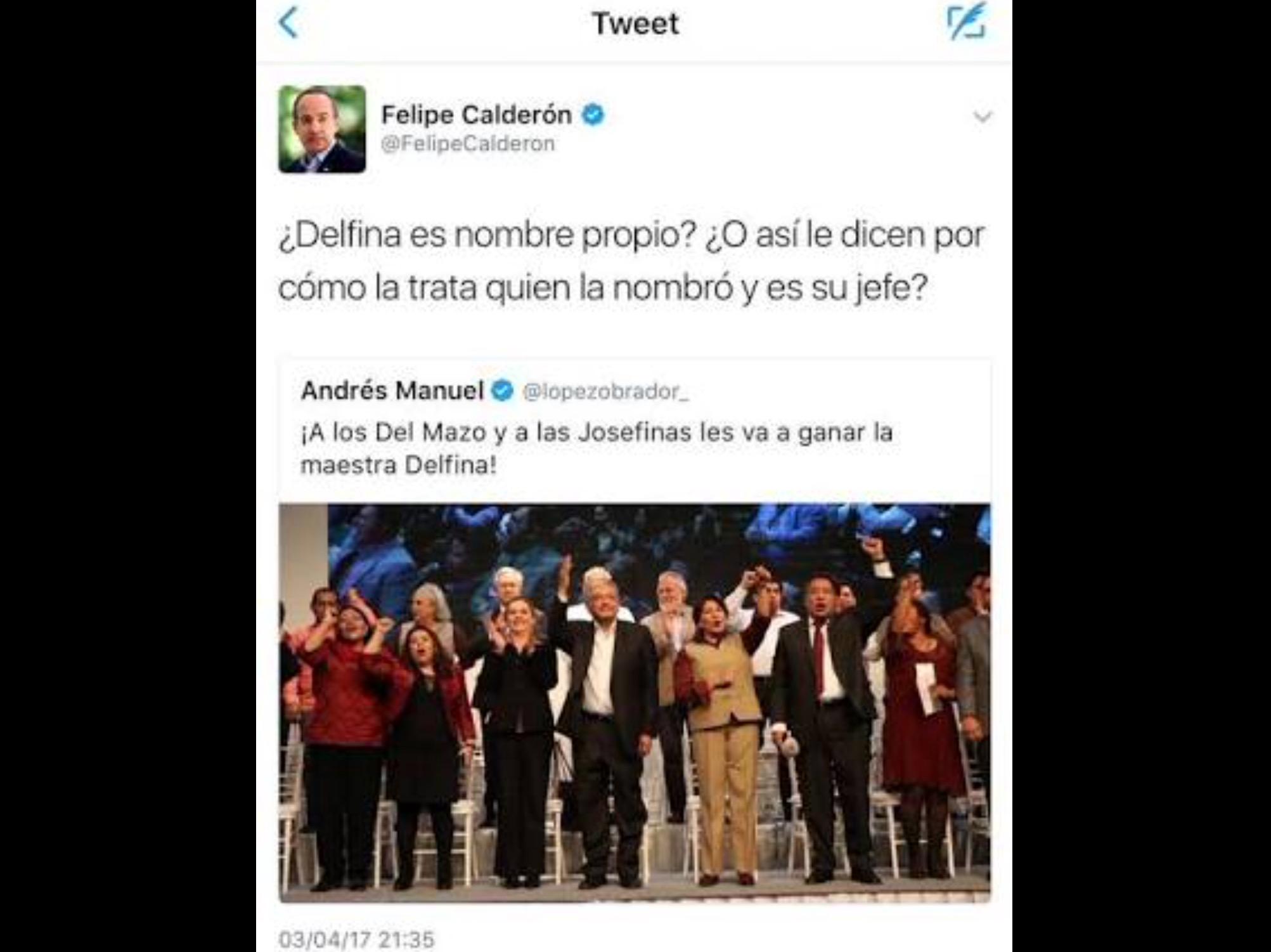 Señalan violencia política de género en tuit de Calderón contra Delfina