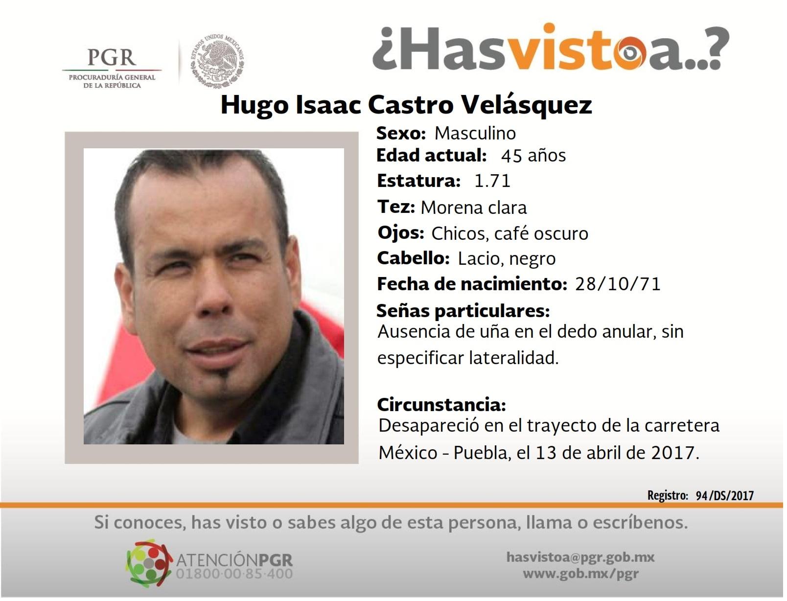"""Sin pistas de Hugo Castro, """"desapareció"""" en Edoméx"""
