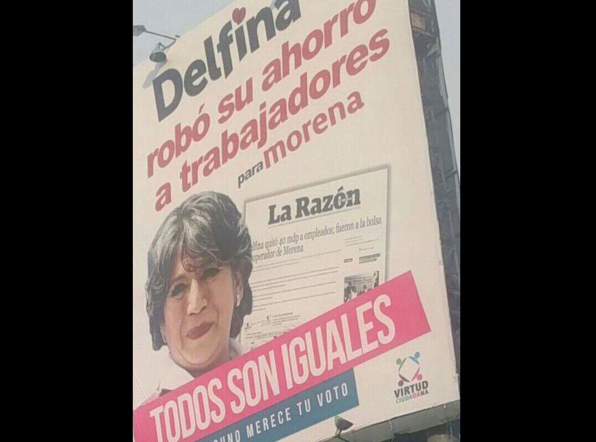 Pide MORENA retirar campaña de Virtud Ciudadana contra Delfina