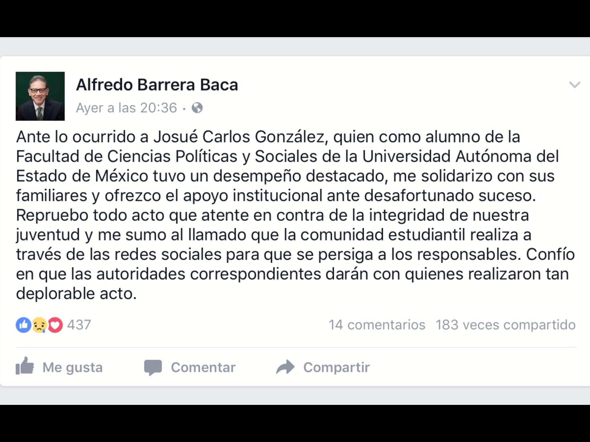 Se solidariza rector de UAEM con familia de Josué Carlos