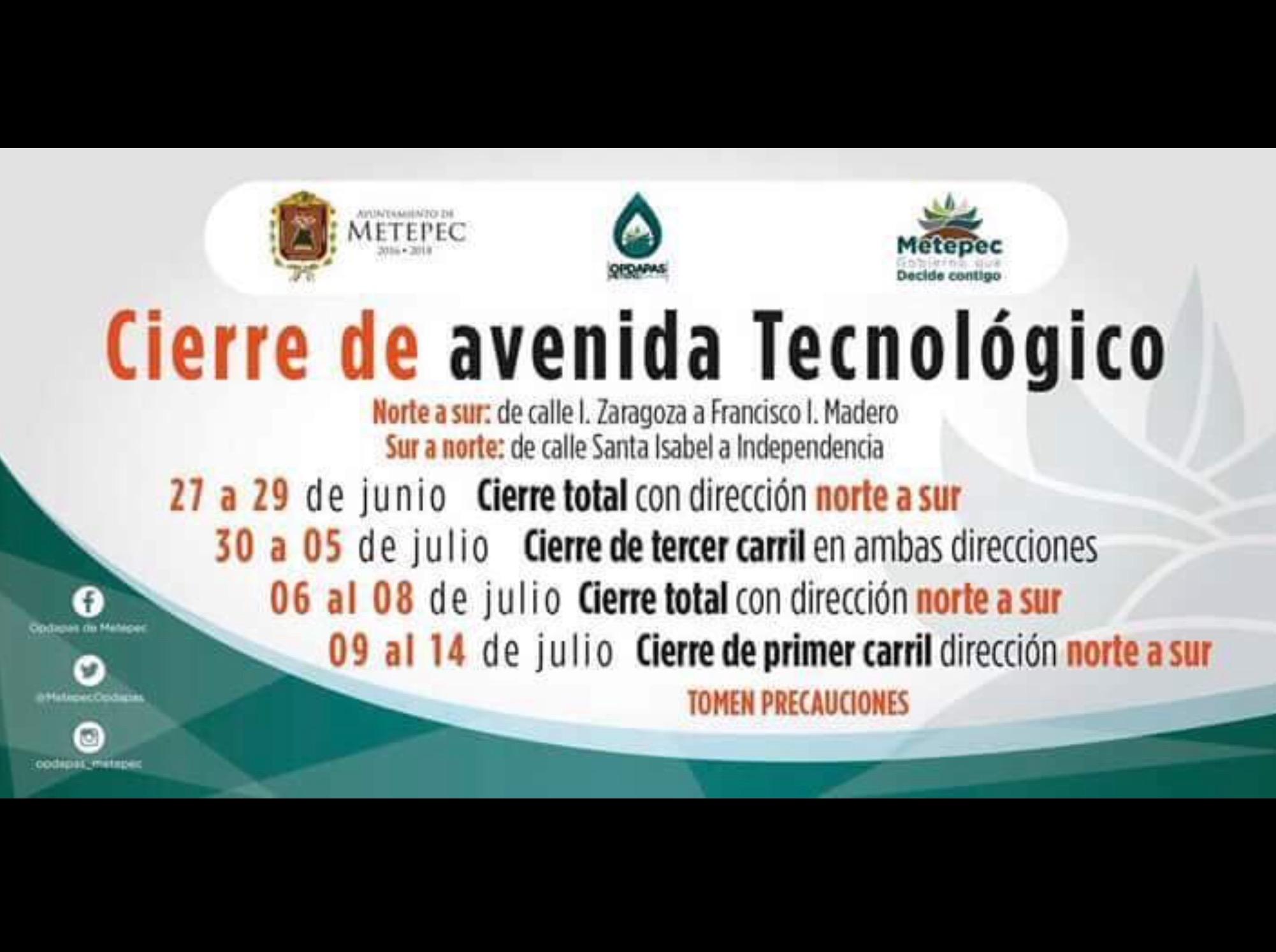 Cierre parcial de avenida Tecnológico en Metepec