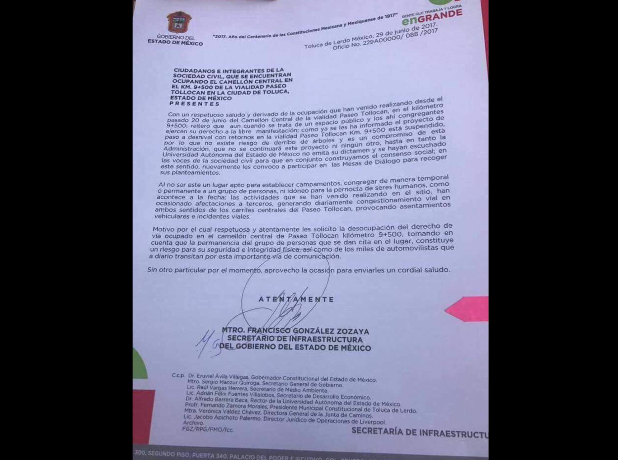 Retiren campamento: gobierno a #AbrazemosTollocan