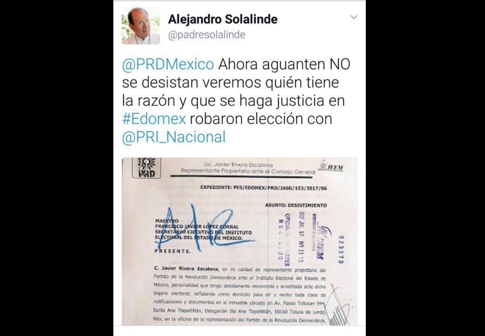 """PRD deja """"por la paz"""" denuncia contra Solalinde"""