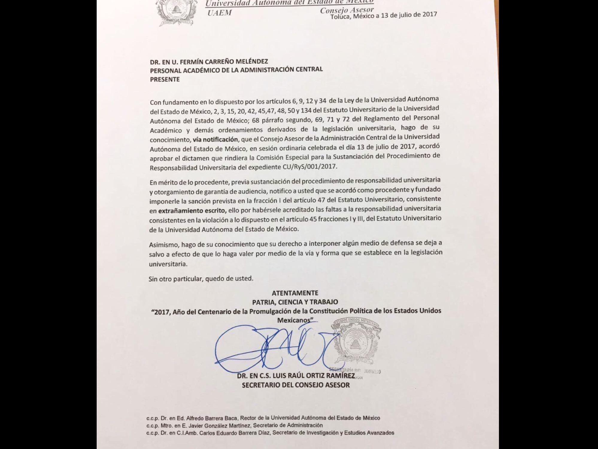 Sí hay sanción para Fermín Carreño, concluye UAEM