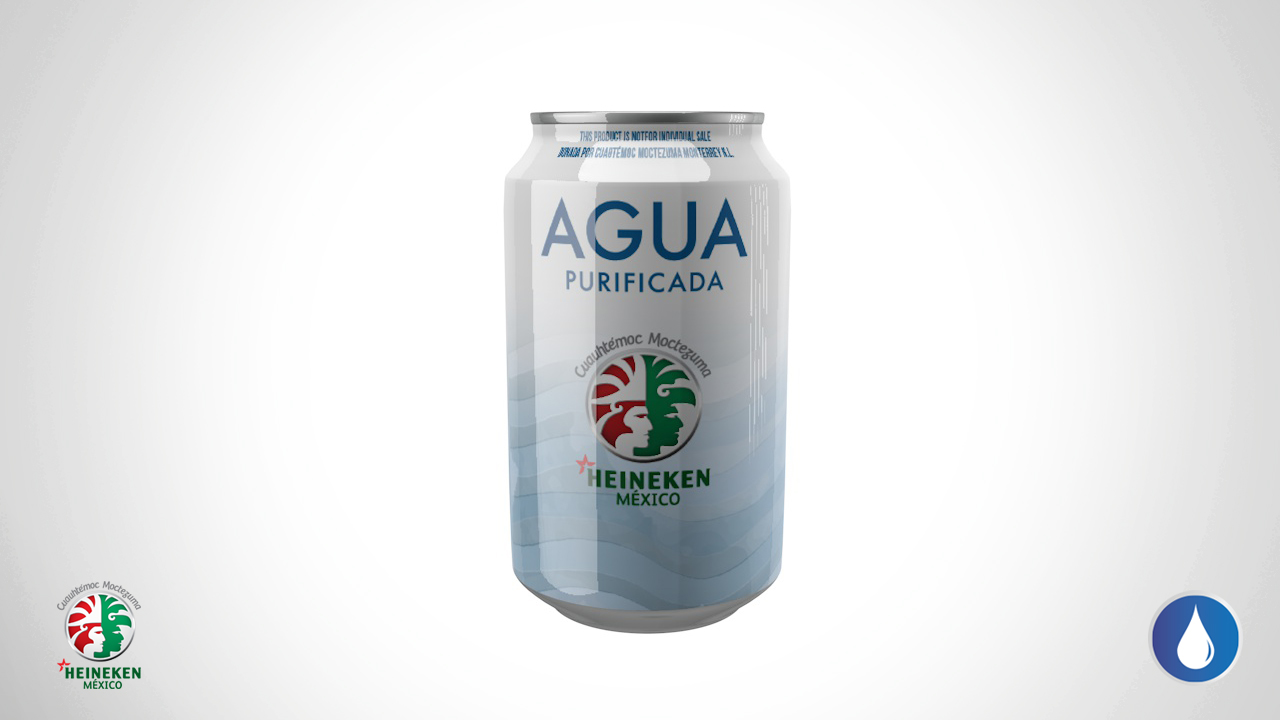 Cambia Heineken cerveza por agua enlata para damnificados