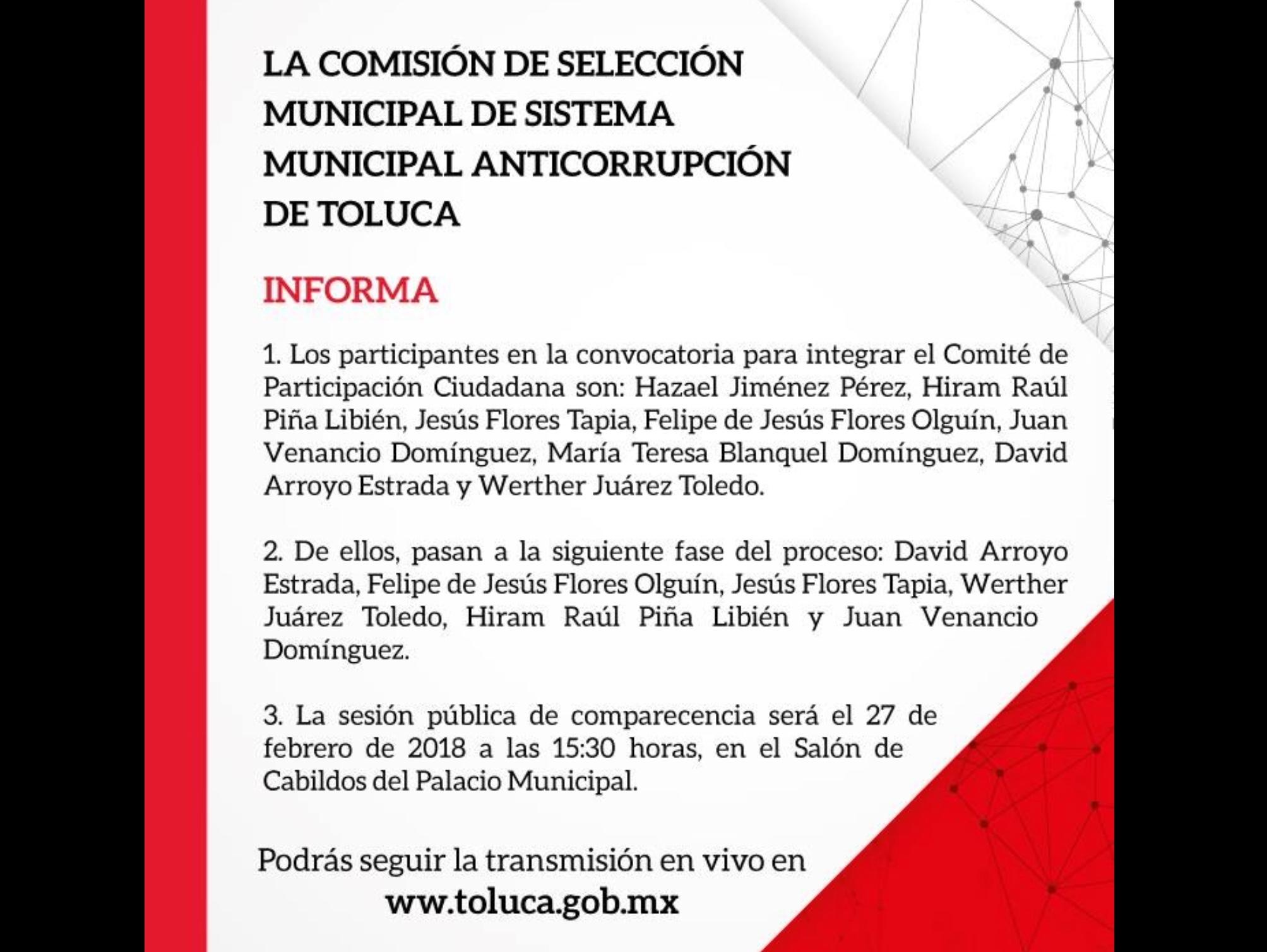 Palomean lista de aspirantes al anticorrupción de Toluca