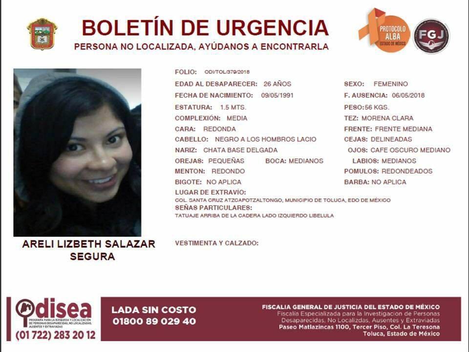 Hallan cadáver de universitaria en Toluca