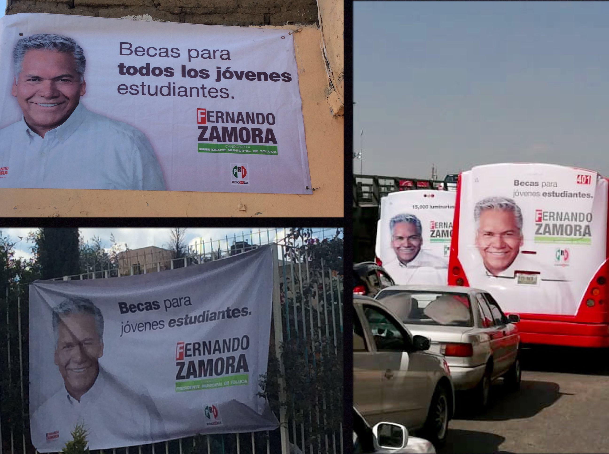 Tapizan Toluca con imagen de Fernando Zamora