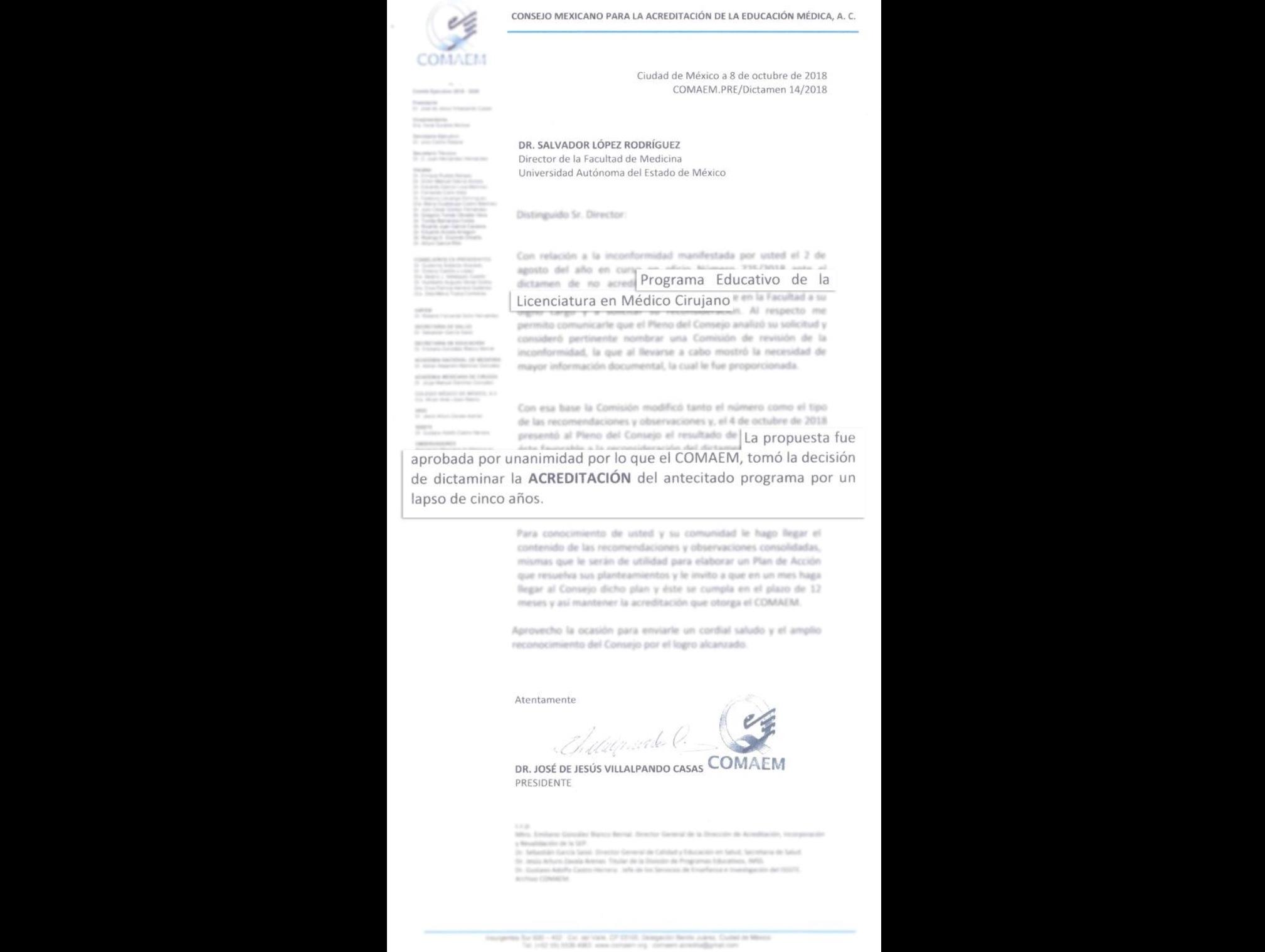 Recupera UAEM acreditación de Licenciatura en Médico Cirujano