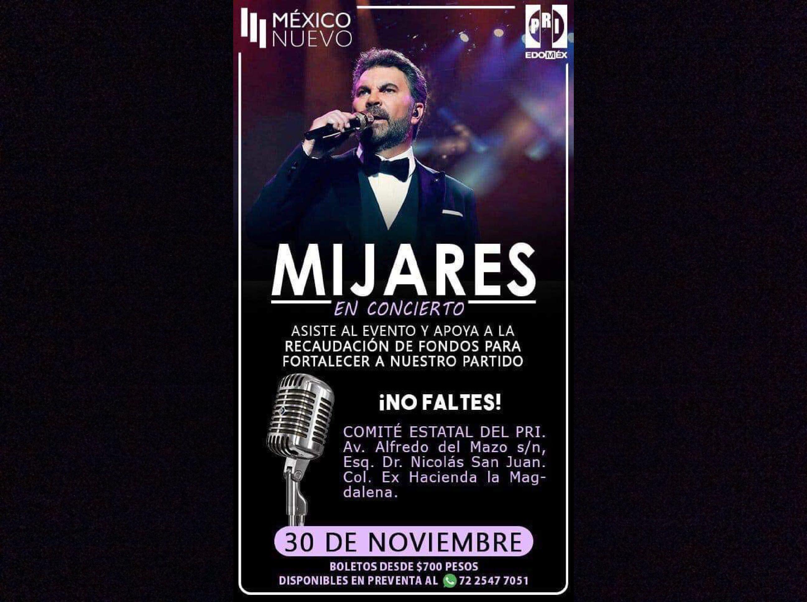 Arman concierto de Mijares en Toluca... ¡en beneficio del PRI!