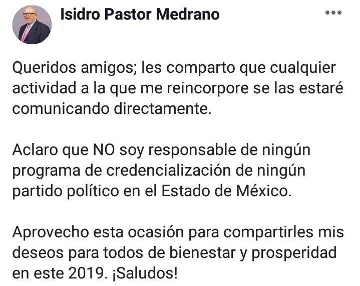 Niega Isidro Pastor vínculo con MORENA