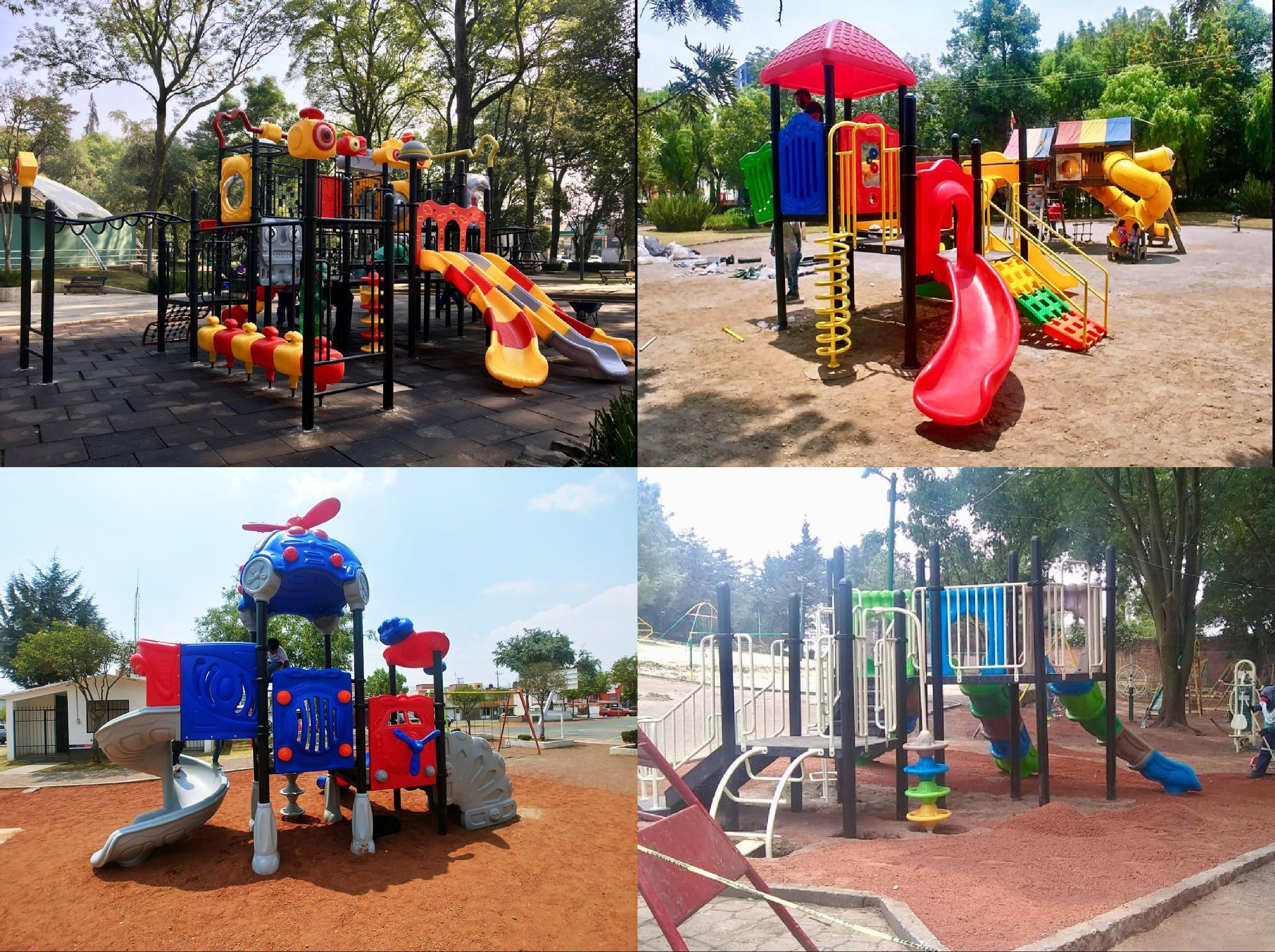 Instalan juegos infantiles en parques y jardines de Toluca