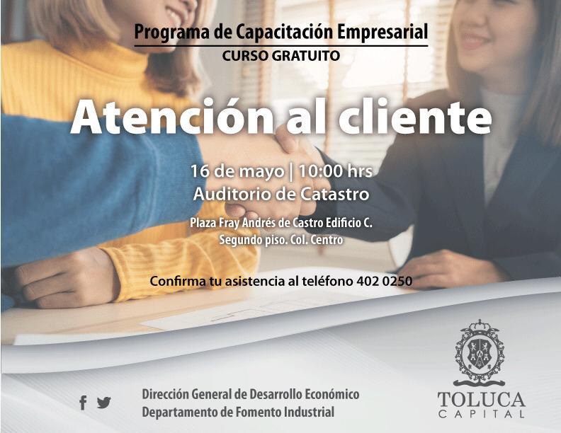 """Ofrece Toluca curso gratuito de """"Atención al cliente"""""""