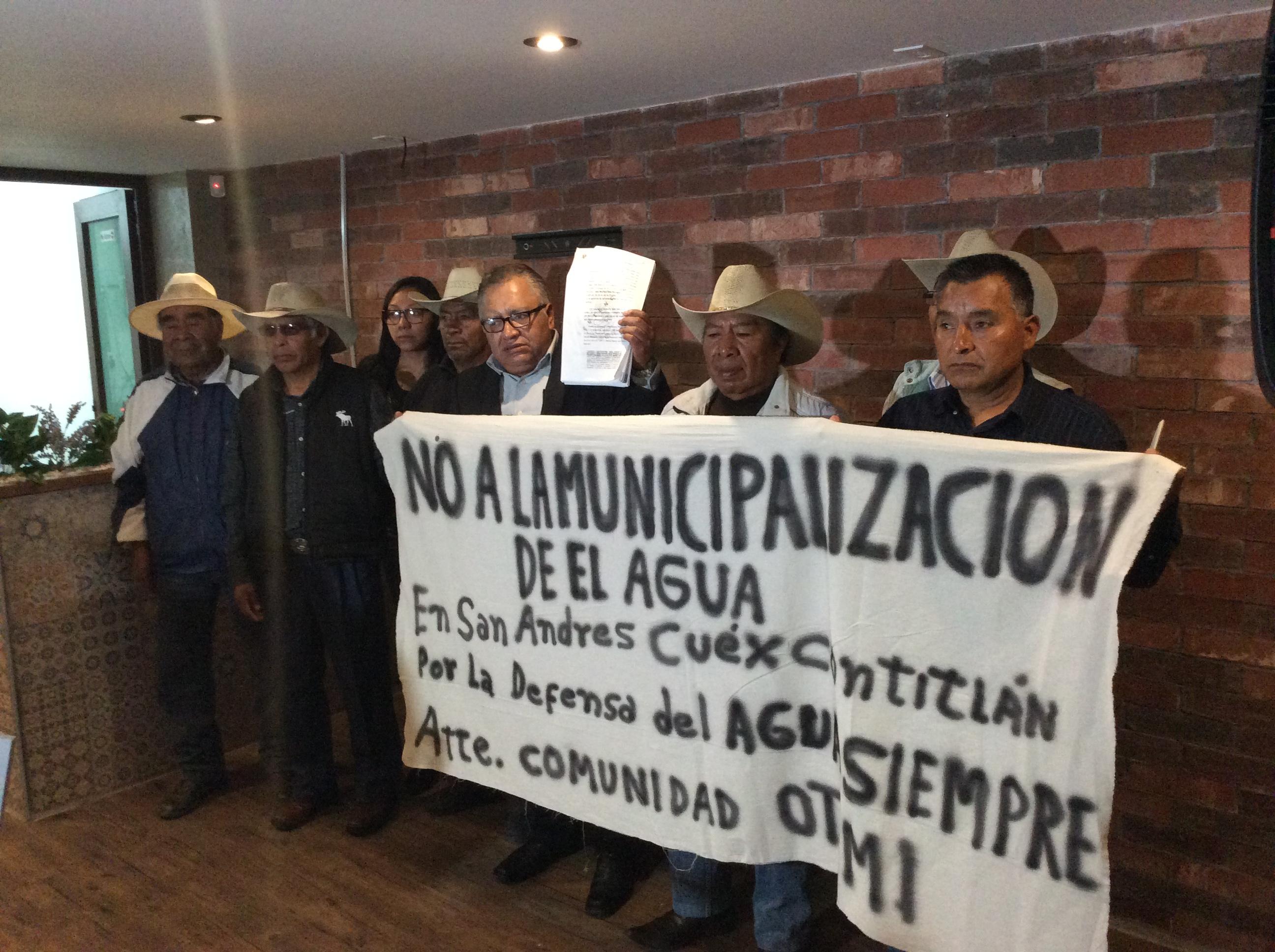 A consulta, manejo de agua en San Andrés Cuexcontitlán