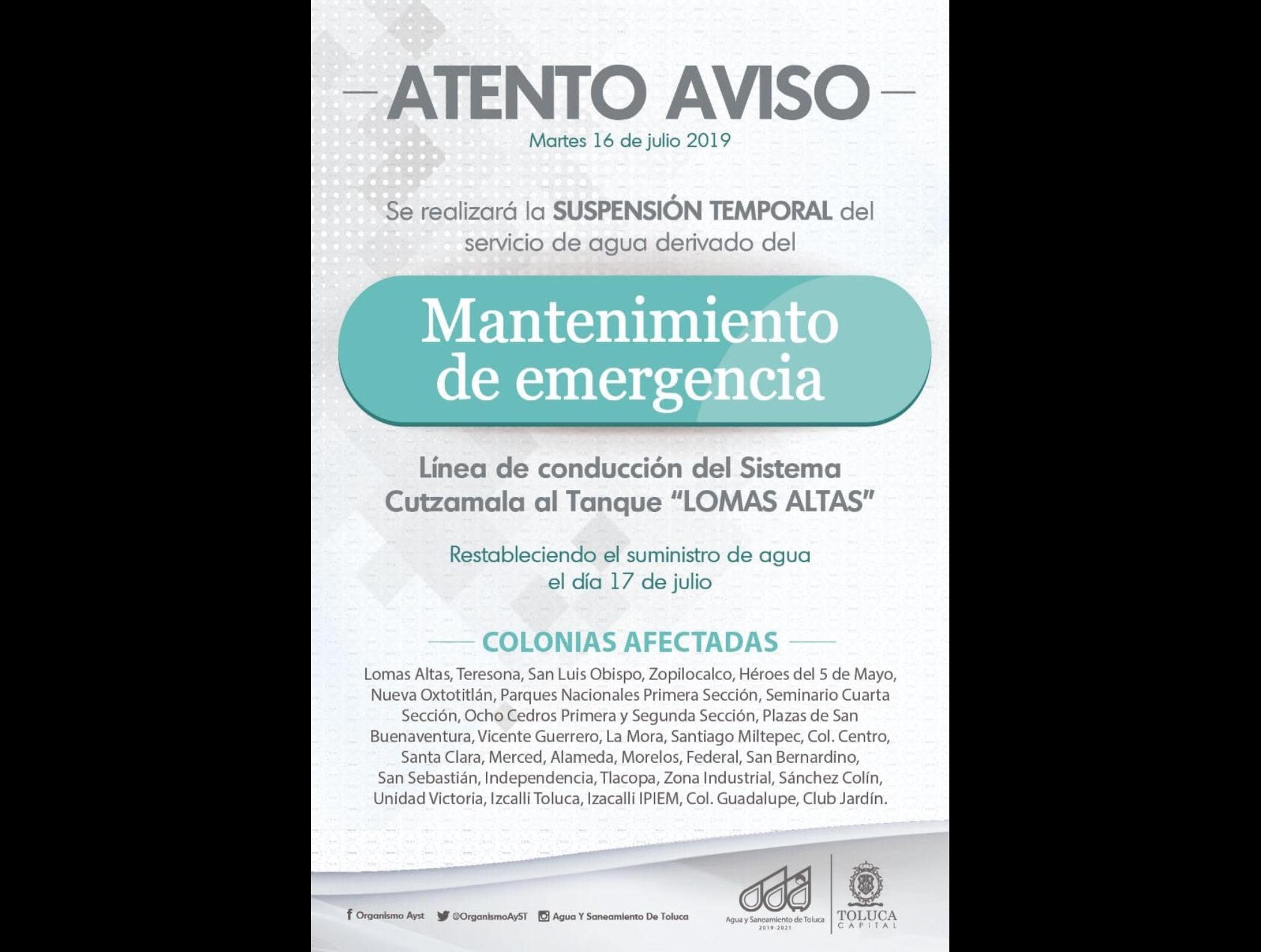 Sin agua 30 colonias de Toluca por mantenimiento de emergencia