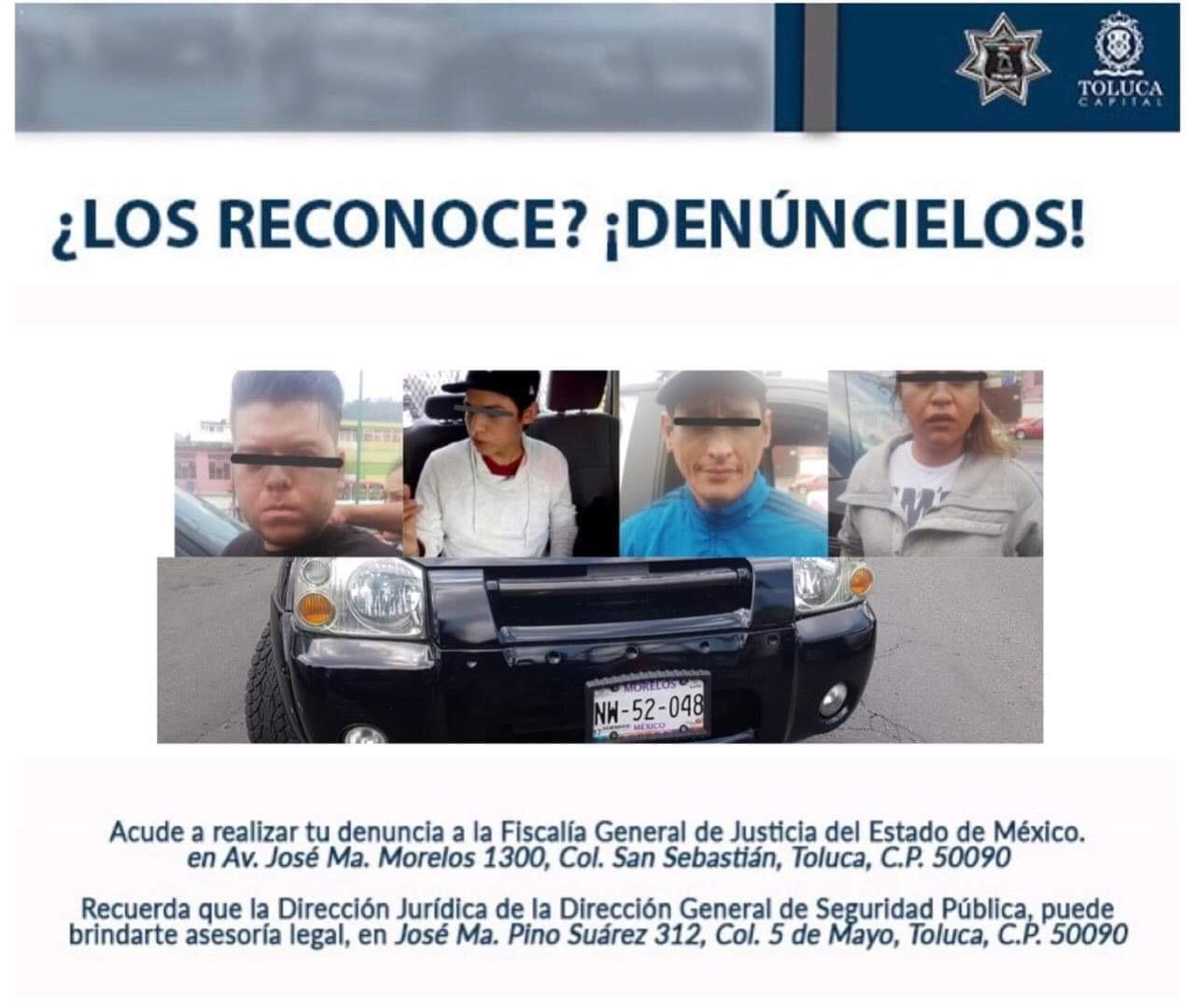 Cae otra banda en Toluca; se dedicaban al robo con violencia