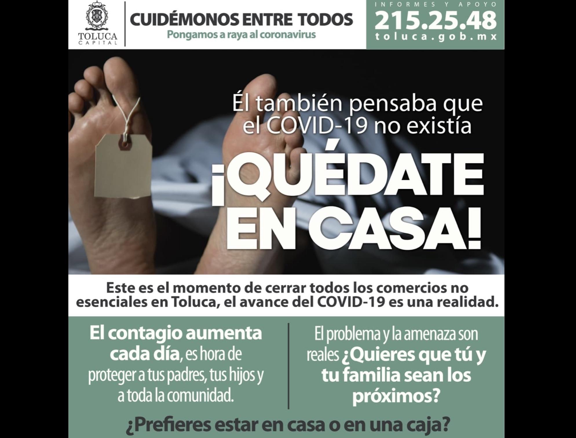 COVID-19 no es invento ni método de control: ayuntamiento de Toluca