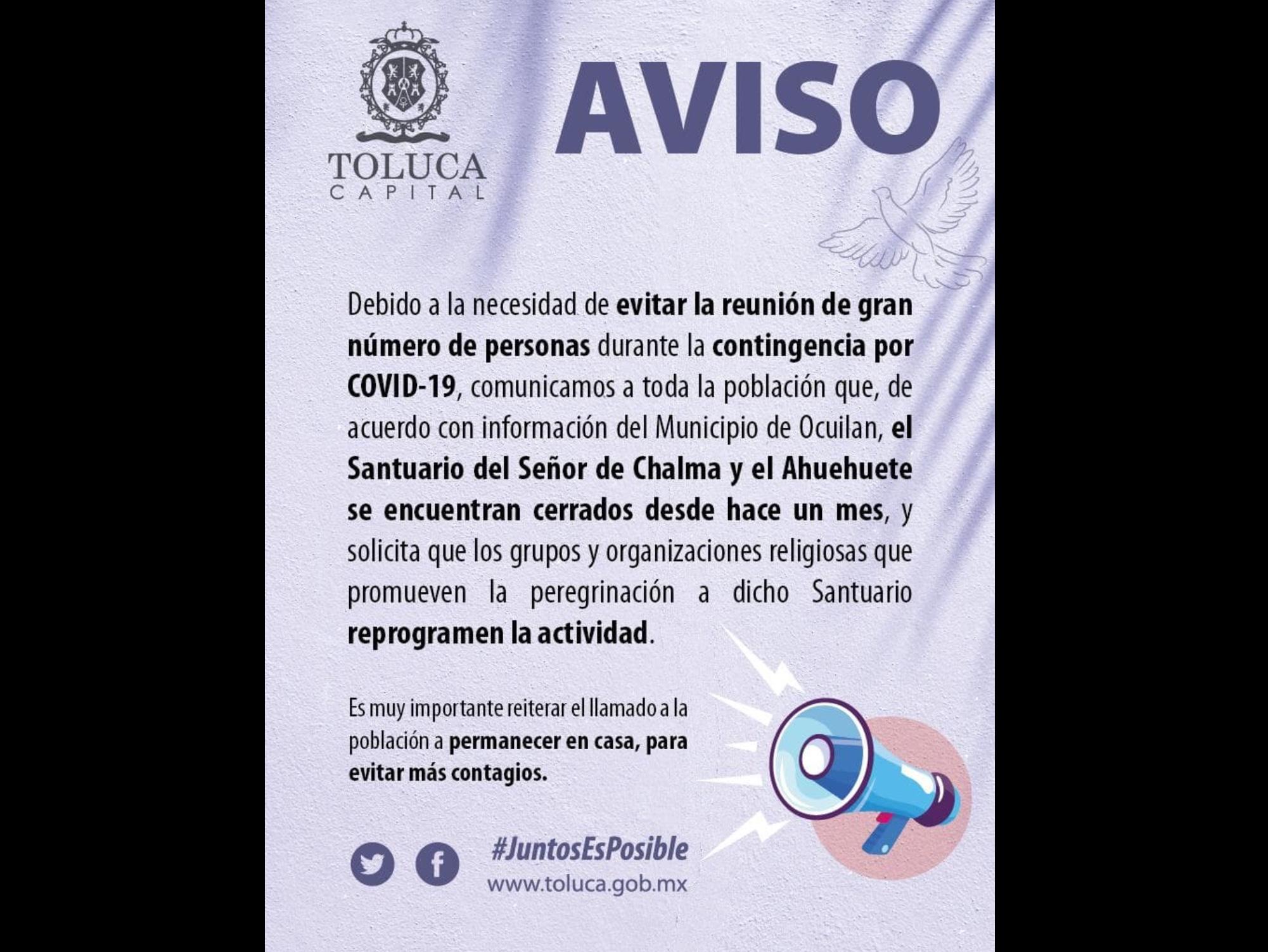 No permitirá Toluca más peregrinaciones para evitar contagios de COVID-19