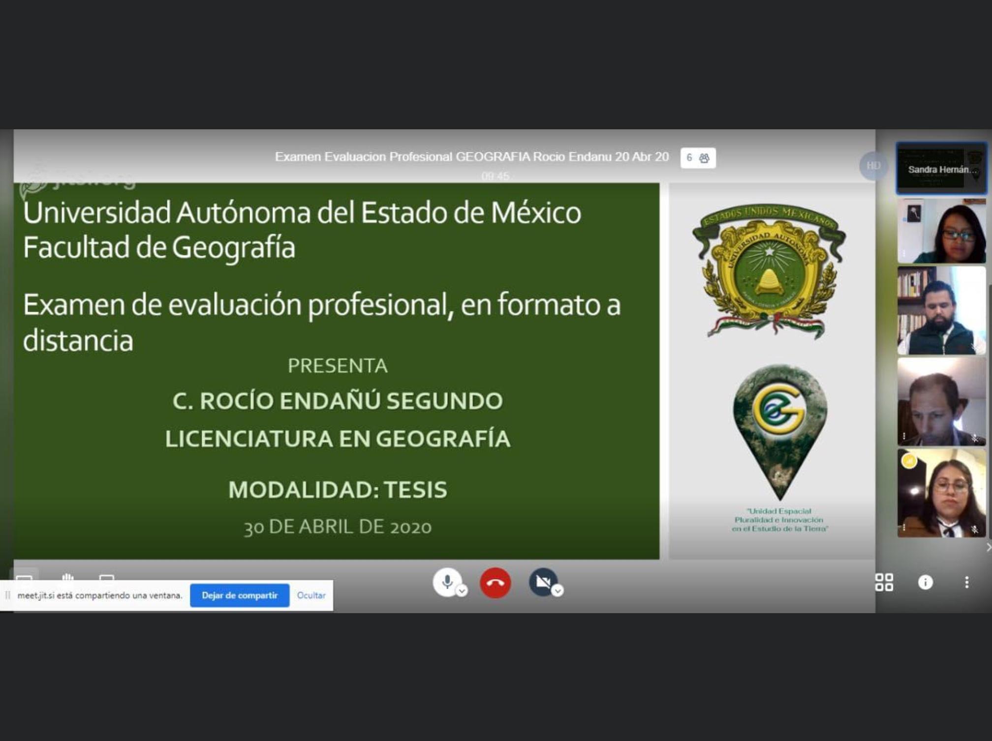 Geografía de UAEM realizó evaluación profesional en línea
