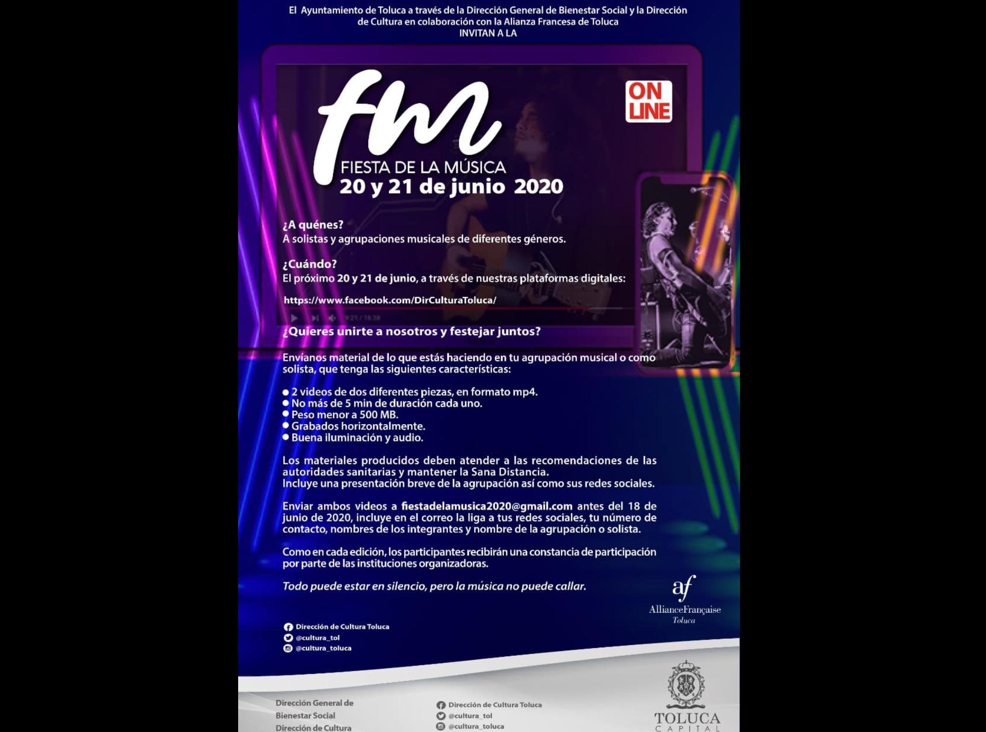 Habrá fiesta digital de la Música en Toluca