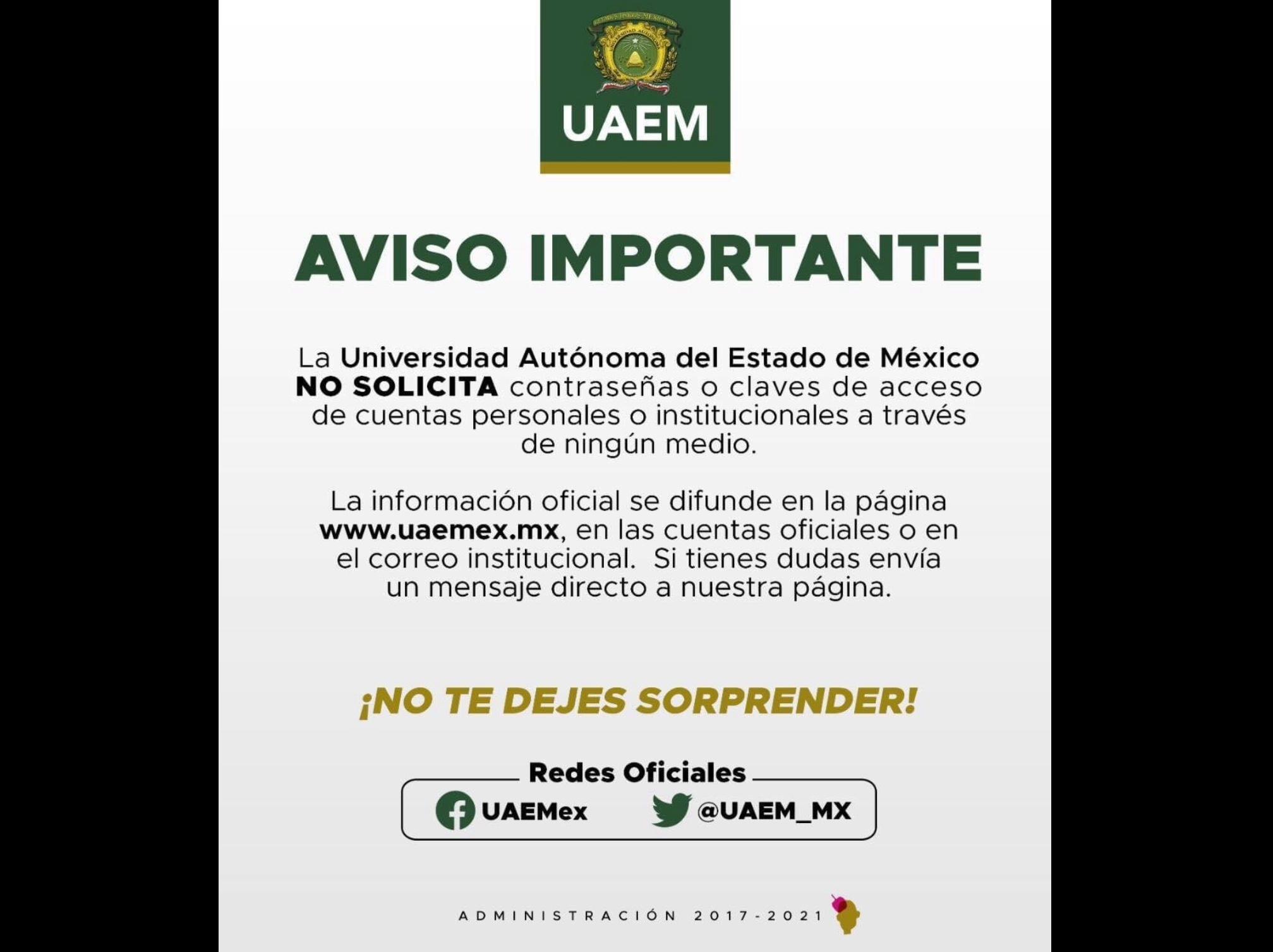 Usan a UAEM en redes sociales para robar información de alumnos