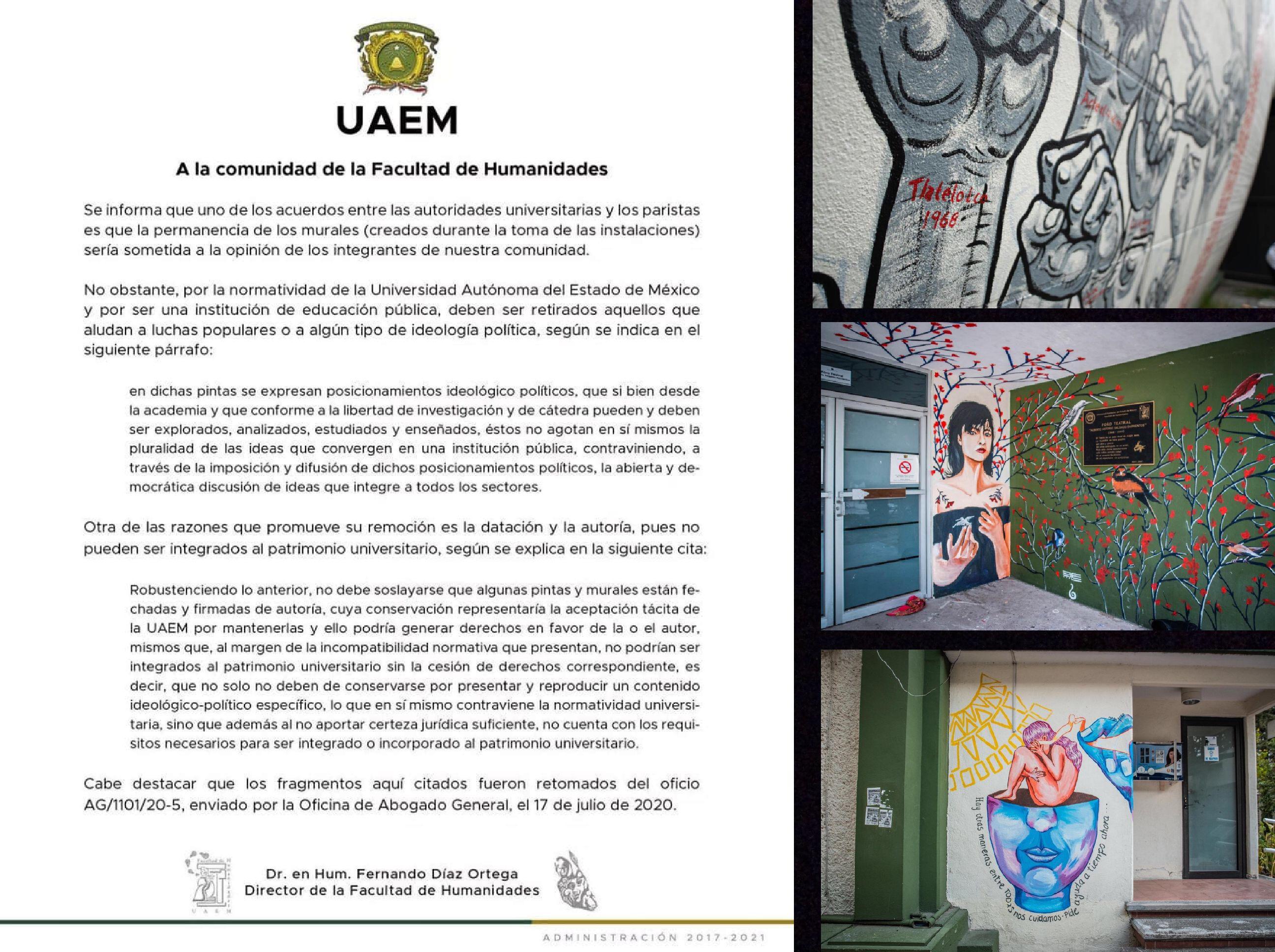 Murales de Humanidades desatan discordia en UAEM