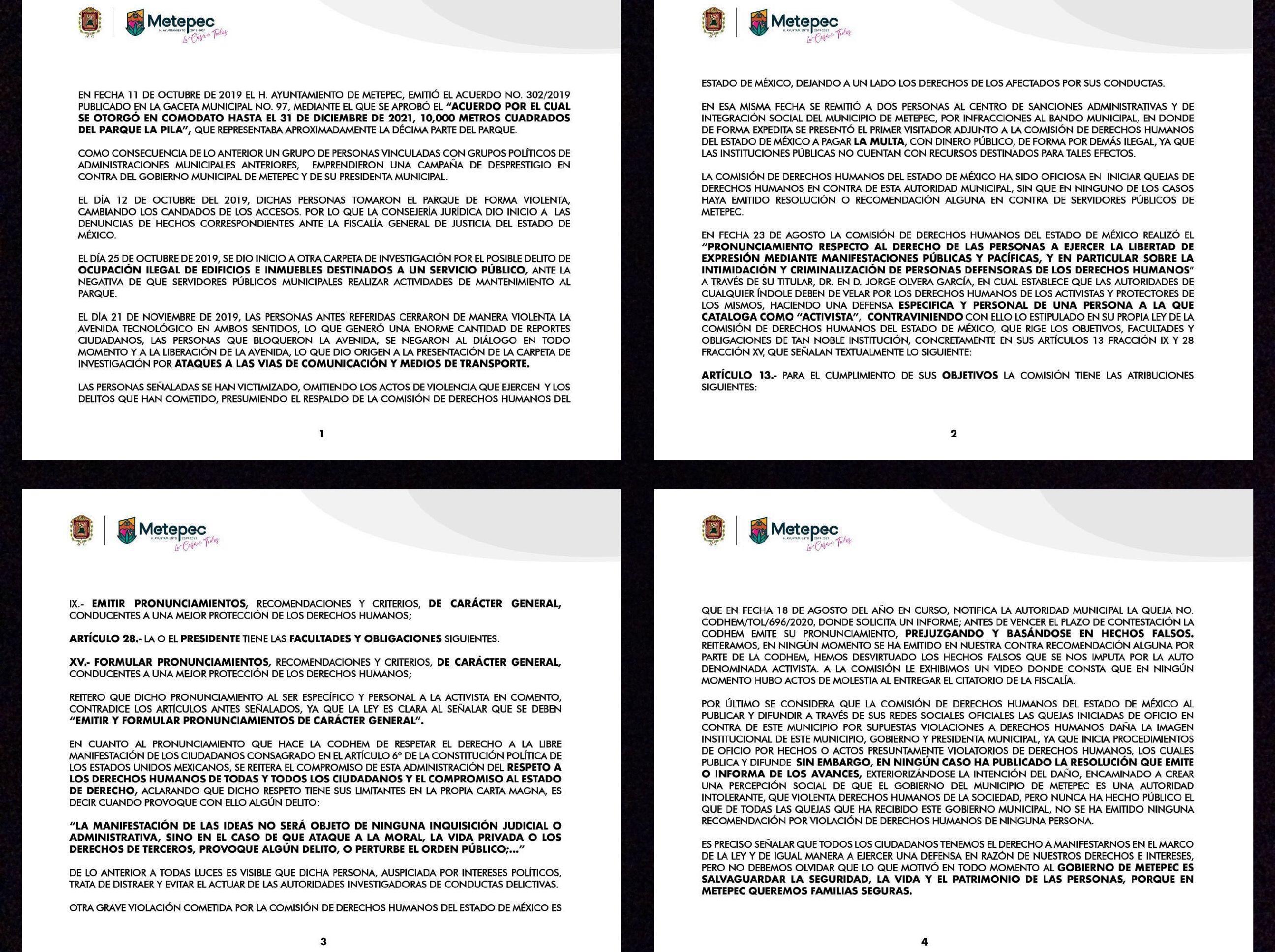 """Expone Metepec """"su verdad"""" sobre denuncia contra activistas"""