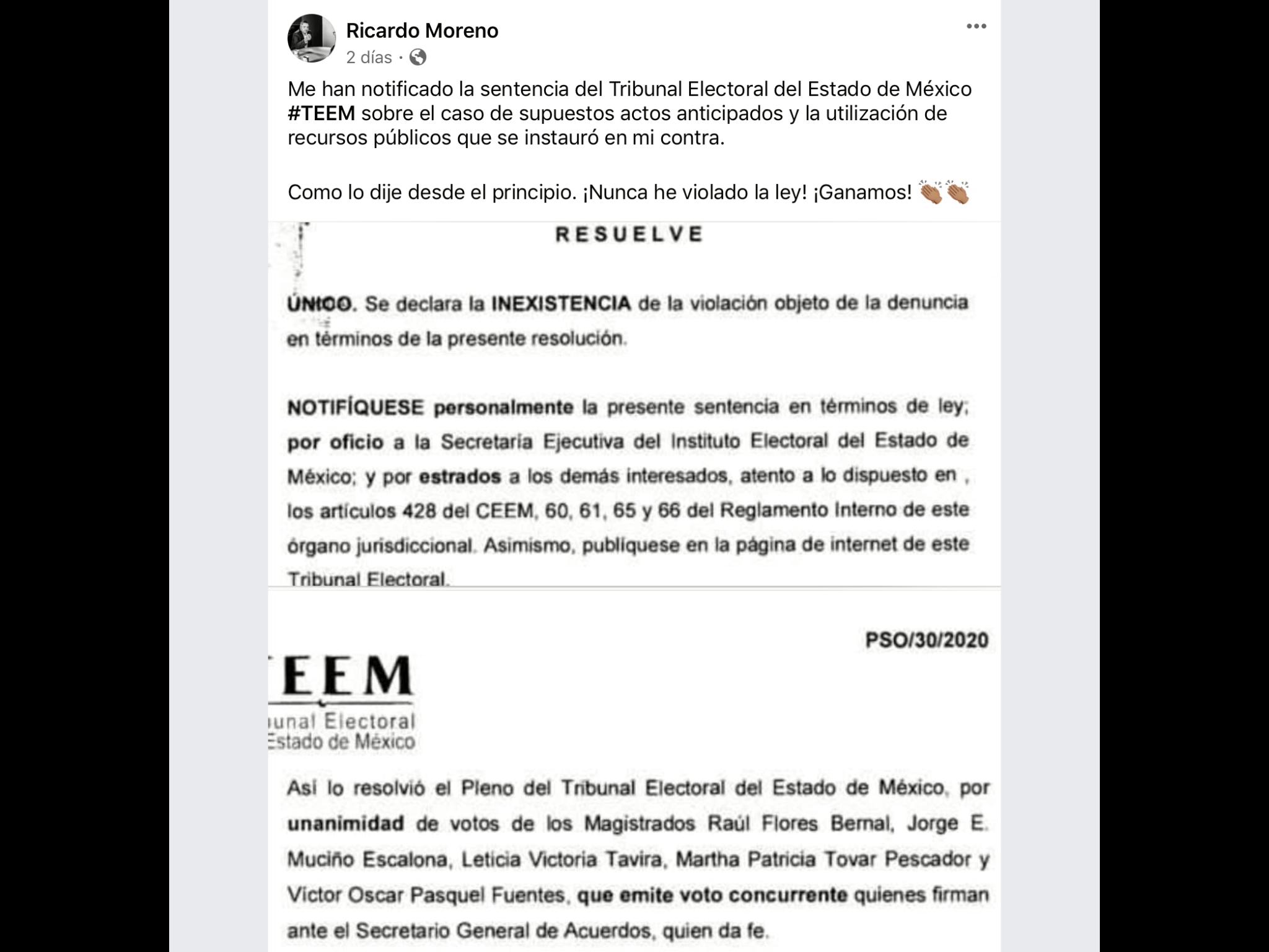 Moreno sale airoso de queja del PRD ante TEEM