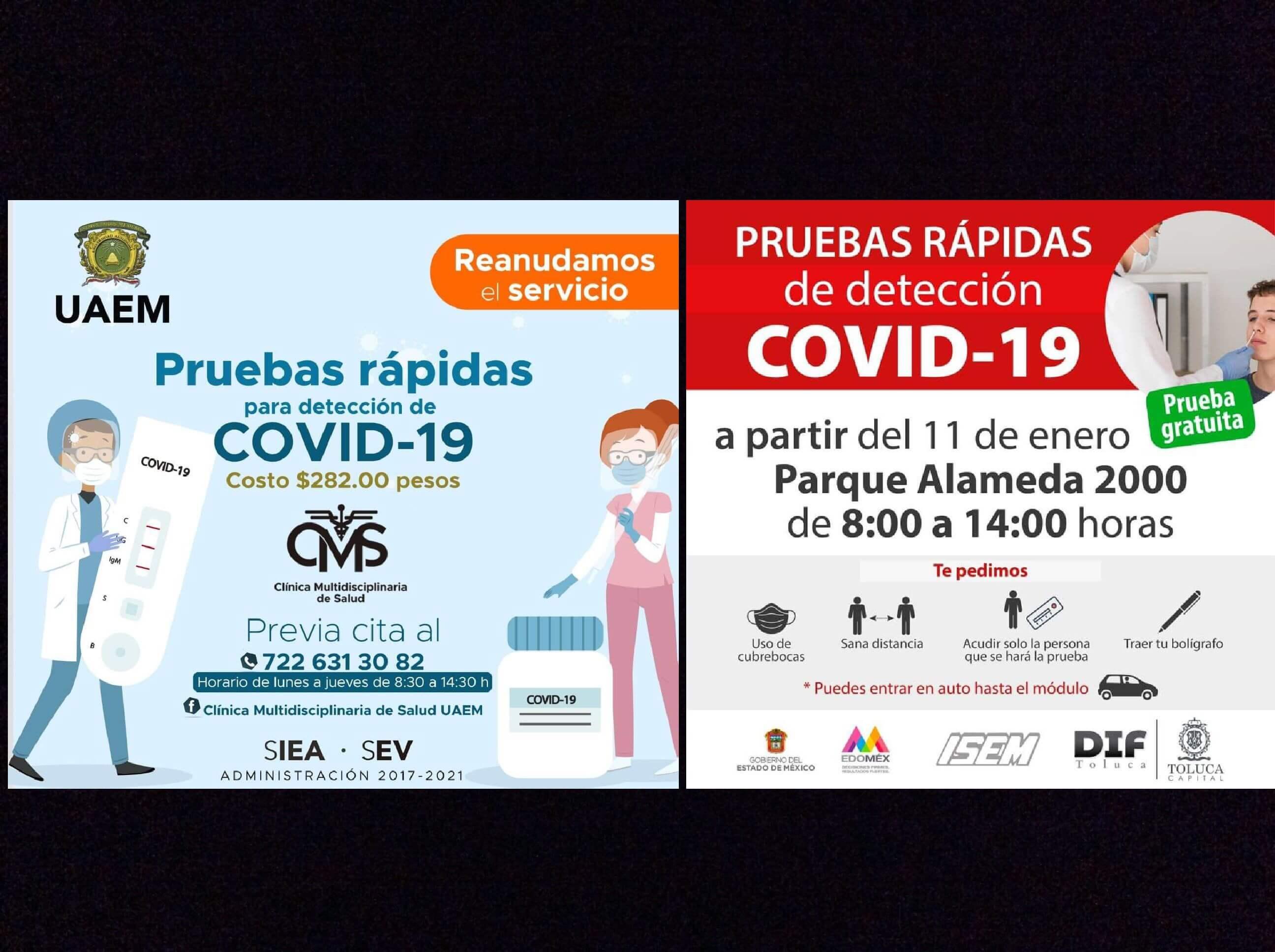 Ante repunte por COVID-19, UAEM y Toluca ofrecen pruebas rápidas