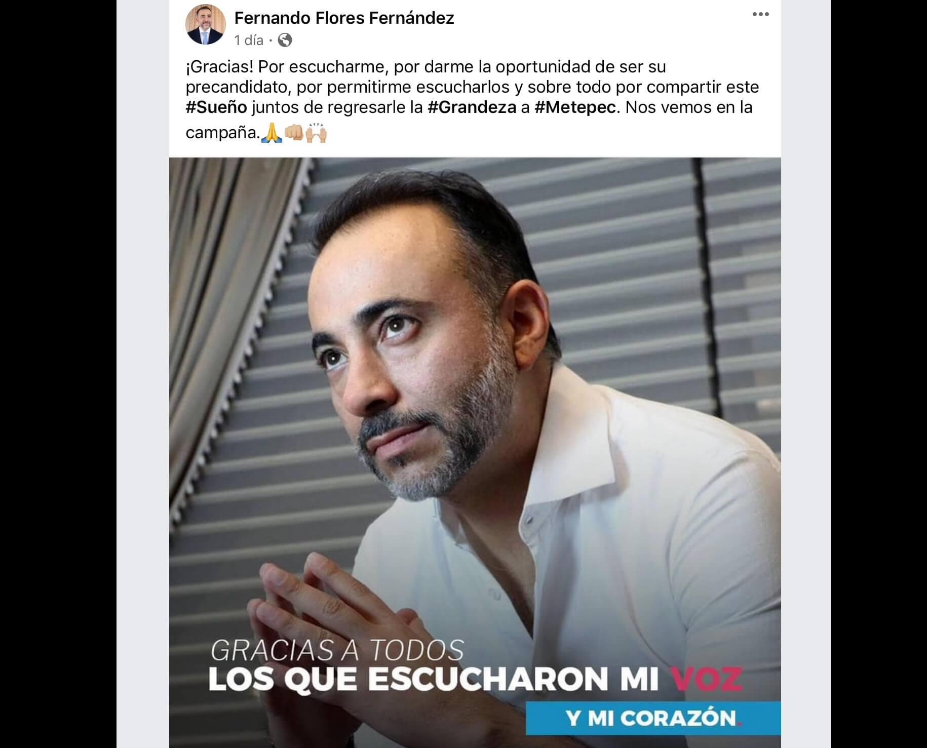 """En jaque"" candidatura de Fernando Flores en Metepec"