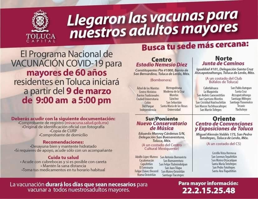 Llegan a Toluca vacunas de Pfizer para adultos mayores