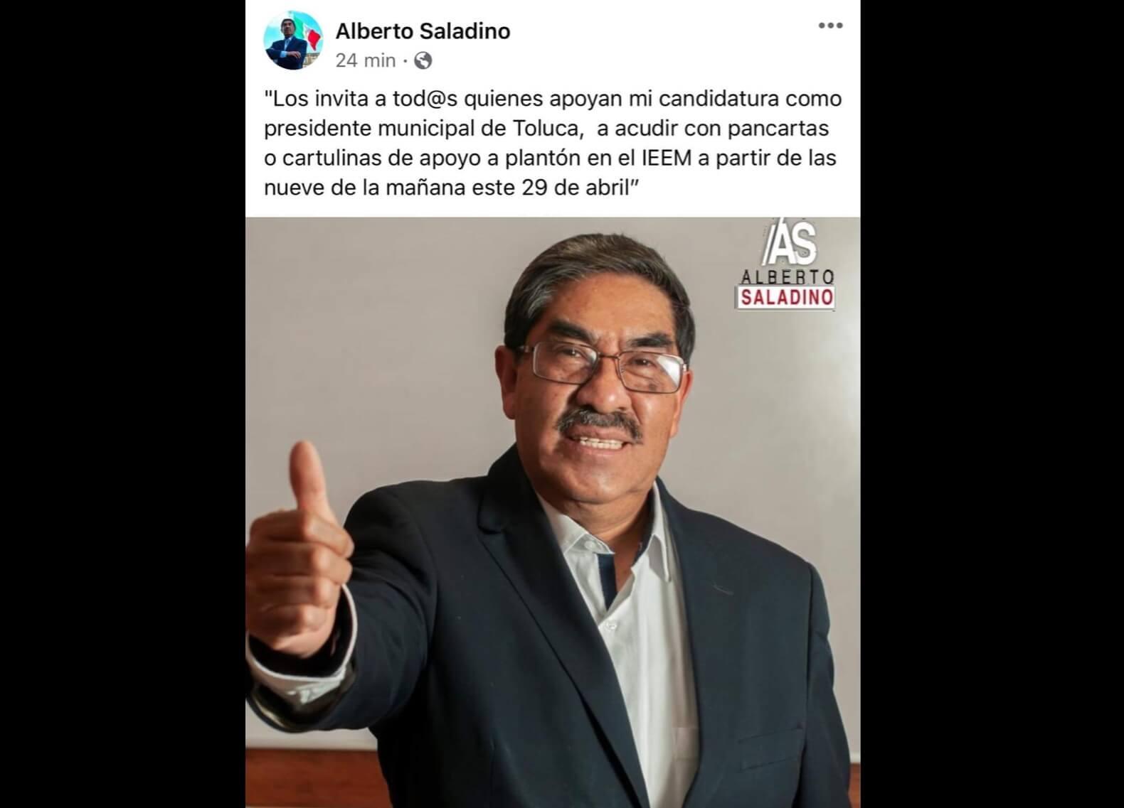Rechaza reelección de Toluca y amaga con plantón en IEEM